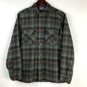 80's Pendleton Wool Plaid Flannel Button Up Shirt